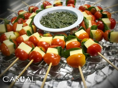 Cherry tomato, mozzarella and basil skewer