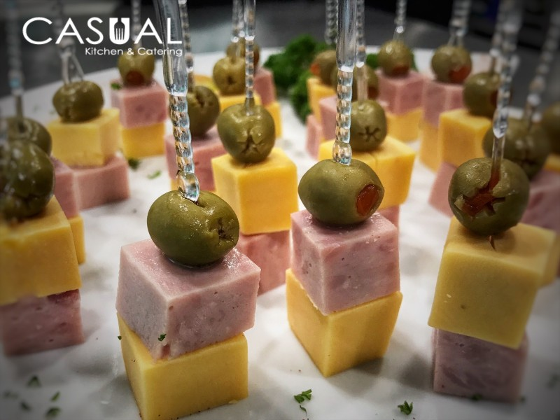 Ham, cheese and olive skewer
